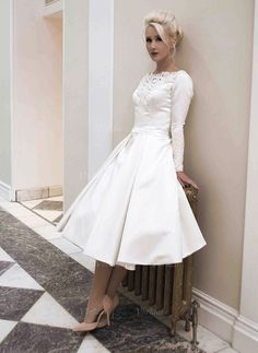 Wedding Dresses - $131.47 - A-Line/Princess Scoop Neck Tea-Length Satin Wedding Dress With Appliques Lace (0025058928)