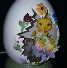 VINTAGE EASTER CERAMIC LIGHT UP EGG EMBOSSED FLOWERS CHICK DECORATION  | Collectibles, Holiday & Seasonal, Easter | eBay!