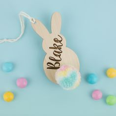 These are personalized Wooden Name Tags. You can customize the Pom Pom tail whenever you want. Bunny Names, Wooden Names, Tag Design, Name Tags, Gift Baskets, Gift Tags, Room Decor, Easter, Christmas Ornaments