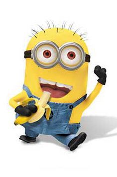 Oh minions and there bananas. First question..: why do they like bananas so much?? 2nd: why is there only boy minions??? Where is the girls? They dress up like girls though! :) Lol