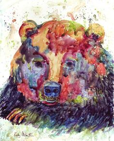 Abstract Bear Portrait Child Boy Girl Room by RickyArtGallery