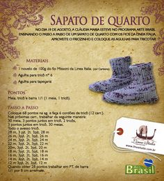 Receita de Tricô: Sapato de quarto em trico Knit Shoes, Shoe Pattern, Knitted Slippers, Boot Cuffs, Raising Kids, Couture, Knitting Socks, Hobbies And Crafts, Beautiful Patterns