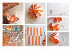 How to DIY Cute Striped Paper Ornament | www.FabArtDIY.com LIKE Us on Facebook ==> https://www.facebook.com/FabArtDIY