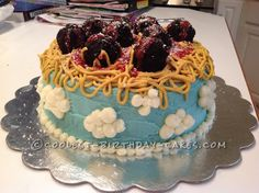 Cloudy with a Chance of Meatballs Cake... This website is the Pinterest of birthday cake ideas