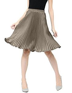 Relaxfeel Spring and Summer Metallic Luster Shiny Vintage Pleated Skirt: Amazon.co.uk: Clothing