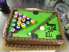 Custom cakes for all occasions. Pool Table Cake, Pool Cake, Bakery Cakes, Custom Cakes, Cake Ideas, Cake Decorating, Bob, Birthday Cake, Party Ideas