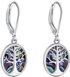 Opal Gem Tree of Life Leverback Earrings Lightweight, Life Tree Abalone or Created Opal drop dangle Earrings For Women Girls