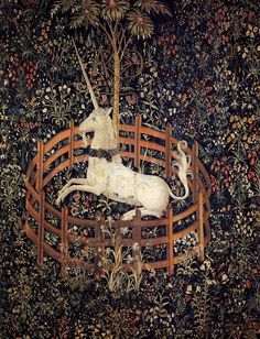 The Unicorn in Captivity by an unknown Flemish Weaver, 1495-1505./ Once saw a giant wall sized latch hook hanging version of this tapestry. It was gorgeous, lush, larger than life and moved every time you walked past it. Want one of my own!