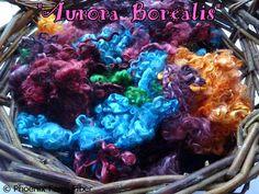 Hand Dyed Kid Mohair Locks in Aurora Borealis by PhoenixFarmFiber
