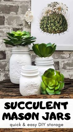 How to make your own set of succulent mason jar canisters. Perfect for your kitchen or bathroom and succulents are so trendy right now, #masonjarcanisters #masonjarcanisterset #kichendecor #masonjar #masonjarcrafts #bathroomdecor #homedecor #rustic #farmhouse #succulent #storage #acraftymix