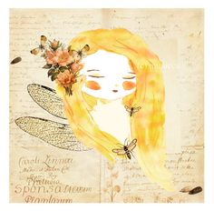 Nature Girls serie -  Insect  Girl - A4 print. $16.00, via Etsy.