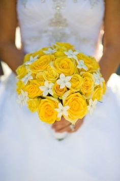 Bright and bold yellow roses and sweet stephanotis make for a vibrant wedding bouquet! Shop roses, stephanotis, and other popular wedding flowers and wholesale flowers at GrowersBox.com!