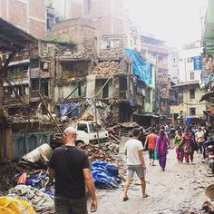 The terrible destruction from the earthquakes in Nepal. Kathmandu, Nepal