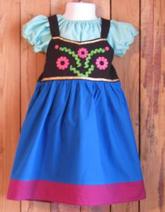 USE SALE CODE -Frozen Inspired Anna Dress and Peasant Blouse -Build a Snowman -Frozen Fan - Custom Order - Birthday Costume - Best Gift Ever on Etsy, $60.00