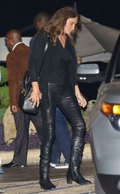 Rocker Chic from Caitlyn Jenner's Best Looks  The reality star rocked a fierce black outfit with leather pants while out and about in Malibu.