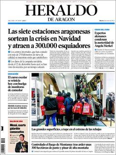 Titulares y Portada del 8 de Enero de 2013 del Periodico el Heraldo de Aragon ¿Que te parecio este día?