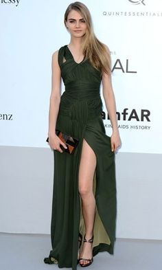 Her brow!Cara Delevingne in Burberry Prorsum at amfAR gala