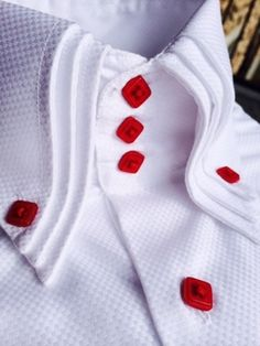 MorCouture White Ace of Diamonds Triple High Collar Shirt African Wear Styles For Men, African Clothing For Men, African Men Fashion, Mens Fashion, High Collar Shirts, Shirt Collar Styles, Gents Shirts, Mens Kurta Designs, Formal Shirts For Men