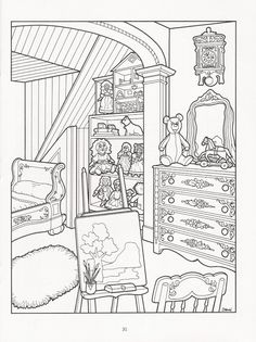 Artwork by Daniel Lewis. The Victorian House Coloring Book, Dover Publications. Adult Coloring