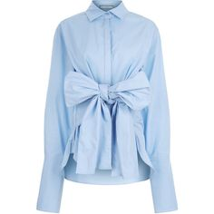 CO/MUN Sky Blue Tie Front Shirt ($475) ❤ liked on Polyvore featuring tops and blouses