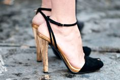 Is this fierce heel gold accented by black, or black with gold accents? Things to consider.   - MarieClaire.com