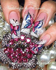 In this post, we have rounded up some examples of butterfly nail art designs for your inspiration. Fabulous Nails, Great Nails, Gorgeous Nails, Cool Nail Art, Butterfly Nail Designs, Butterfly Nail Art, Cute Nail Designs, Crazy Nails, Fancy Nails