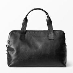 Handväska i skinn, svart