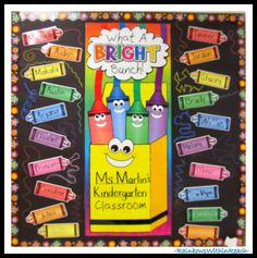 Kindergarten Crayon Bulletin Board via RainbowsWithinReach RoundUP