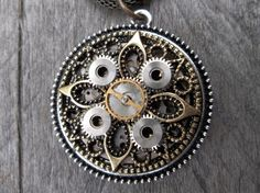 Clockpunk Steampunk Victorian Style Reversible Pendant Necklace, Watch Movement or Filigree Fleur de Lis & Gears on Modified Snake Chain