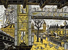 A linocut art work by Mick Armson for the first days of autumn in London: Under Hungerford Bridge…