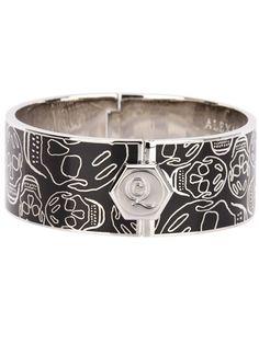 Silver-tone and black enamel cuff bracelet from Alexander McQueen.