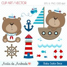 Sailor Bear Digital Clipart Vector - Personal and Commercial Use - Blue and red, Marine Cute navy art - C001 by AnitadeAndradeStore on Etsy https://www.etsy.com/uk/listing/270994418/sailor-bear-digital-clipart-vector