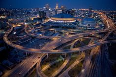 """""""The Streets of the Superdome"""" - photo by Tyrone Turner/ National Geographic; aerial photo of the Superdome in downtown New Orleans, LA New Orleans Skyline, Downtown New Orleans, New Orleans Art, New Orleans Louisiana, New Orleans Saints, Canadian Culture, Skyline Art, City Aesthetic, City Landscape"""