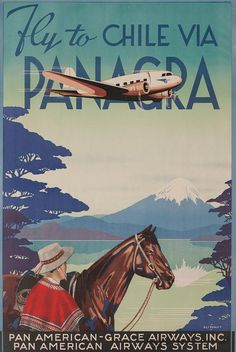 Chile: Vintage travel poster via www.vintageairlineposters.net. Scan old photos…