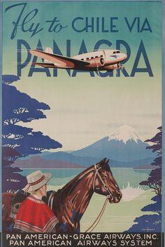 Chile: Vintage travel poster via www. Retro Poster, Poster Art, Poster Prints, Retro Airline, Vintage Airline, Belle Epoque, Hanging Canvas, Art Graphique, Vintage Travel Posters
