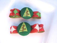 Christmas Tree Hair Bows  Christmas Bows  Tuxedo by PoppyandPippa,