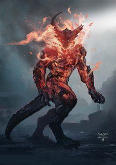 Fantasy Creatures, Mythical Creatures, Vikings, Dnd Art, Demon Art, Marvel Art, Thor Marvel, Marvel Comics, Scary Art