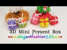 Rainbow Loom - 3D MINI GIFT BOX Charm. Designed and loomed by ElegantFashion360. Click photo for YouTube tutorial. 10/21/14.