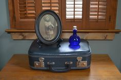 $29.90 ✿  bluefolkhome on etsy ✿ Vintage Small Suitcase Dark Blue Gray Unmarked Very Nice Condition Ladies Small Suitcase Cosmetic Bag Overnight Bag 1960 I Ship Worldwide by bluefolkhome on Etsy