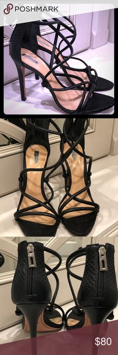 Sexy Schutz black Python Strappy Sandal heels 9.5 Worn once to dinner and home, a bit small for me 😔 Black leather python print strappy high heel sandals. Perfect except for the soles, which are barely worn. SCHUTZ Shoes Heels