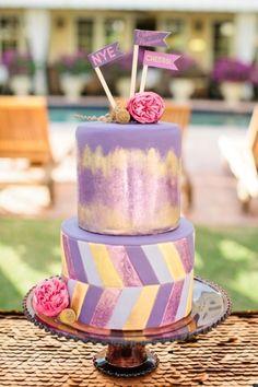 purple and gold wedding cake! // photo by Chelsey Boatwright Photography, cake by Gigi-Mama Cakes Gorgeous Cakes, Pretty Cakes, Amazing Cakes, Cupcakes, Cupcake Cakes, Whimsical Wedding Cakes, Dessert Oreo, Painted Wedding Cake, Purple Cakes