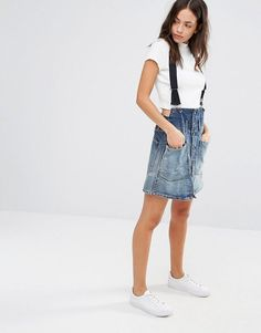 G-Star Dadin Tailored Suspenders A-Line Skirt - Blue
