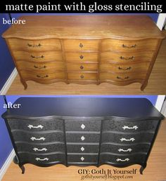 GIY: Goth It Yourself: Black Matte with Black Gloss Stenciling on Dresser