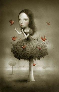 Surrealist Fairy Tale Illustrations by Nicoletta Ceccoli. Mark Ryden, Arte Lowbrow, Art Fantaisiste, Italian Artist, Whimsical Art, Surreal Art, Book Illustration, Graphic, Love Art