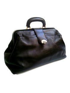 french vtg DOCTOR BAG black leather by lesclodettes on Etsy, $79.00