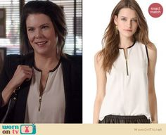 Sarah's white zip front blouse on Parenthood.  Outfit Details: https://wornontv.net/22063/ #Parenthood