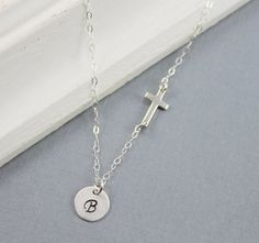 Hey, I found this really awesome Etsy listing at https://www.etsy.com/listing/160358535/sideways-cross-necklace-personalized
