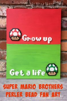 """Super Mario Brothers Perler Bead Fan Art Do you have a gamer or someone who likes the old school Nintendo games? How about making this """"Punny"""" Super Mario Brother Perler Bead Fan Art for them? It just requires Perler beads, craft paint and a canvas! Perler Bead Art, Perler Beads, Pokemon, Super Mario Brothers, Perler Patterns, Gifts For Brother, Birthday Diy, Birthday Gifts, Fuse Beads"""