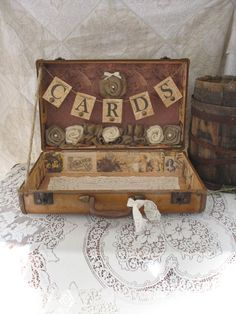 Vintage Suitcase Wedding Card Holder Shabby Chic Wedding Rustic Country Wedding. $120.00, via Etsy.
