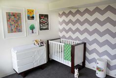 Bondville: Real Kids Room: grey chevron 2 year old boy's bedroom Accent wall
